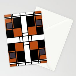 Neoplasticism symmetrical pattern in tangelo Stationery Cards