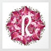 R Floral  Art Print