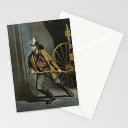 Historical American Firefighter Illustration (1858) Stationery Cards