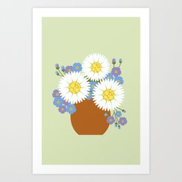 Vase of Daisies and Forget me not Art Print