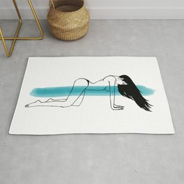 Women with Long black hair on wind in a doggy style sexy pose Rug