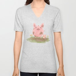 Piggies in a Mud Puddle Unisex V-Neck