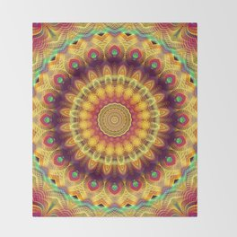 Flower Of Life Mandala (Salmon Sunset) Throw Blanket