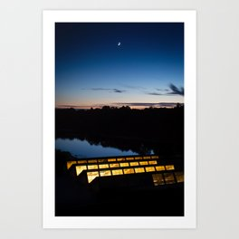 Moon over Charles River Art Print