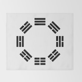 Black Hexagon I ching Feng Philosophy Throw Blanket