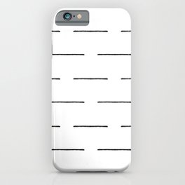 Block Print Lines in Black and White iPhone Case