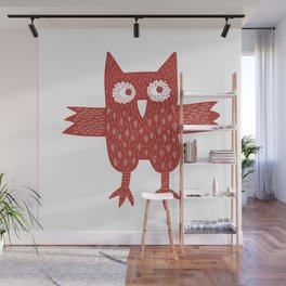 Red Owl Illustration Wall Mural