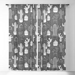 Black & White Cactus Doodle Pattern Sheer Curtain