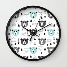 Geometric grizzly bear and arrows Wall Clock