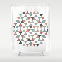 hexagon Shower Curtains featuring Hexagon by Pavel Saksin