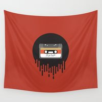 cassette Wall Tapestries featuring Mix Tape Cassette by POP Collective