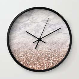 Bold ombre rose gold glitter - white marble Wall Clock