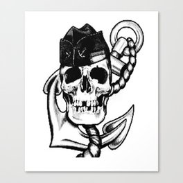 Navy themed skull art, Custom gift design Canvas Print