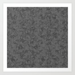 Modern Farmhouse Gray Damask Print Flower Vine on Weathered Background Art Print