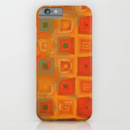 Irregular Abstract Orange and Green Pattern Art iPhone Case