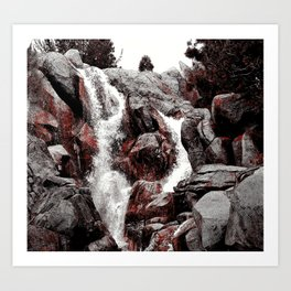 Grizzly Mountain Waterfall Art Print