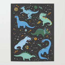 Dinosaurs in Space in Blue Poster