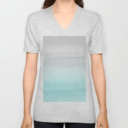 Touching Aqua Blue Gray Watercolor Abstract #1 #painting #decor #art #society6 Unisex V-Neck