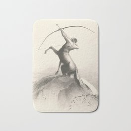 """Odilon Redon """"Centaur focuses on the sky"""" Bath Mat"""
