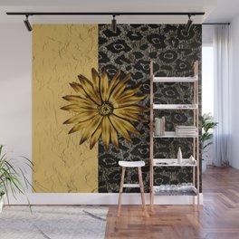 ANIMAL PRINT BLACK AND GOLD FLOWER MEDALLION Wall Mural