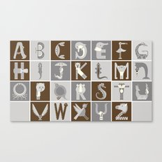 Neutral Horizontal Animal Alphabet (Complete Poster) Canvas Print