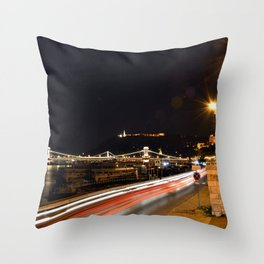 Budapest Night Lights Throw Pillow