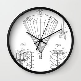 Parachute Patent - Sky Diving Art - Black And White Wall Clock