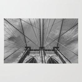 NEW YORK CITY Brooklyn Bridge in Detail | monochrome Rug