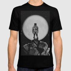 With The Moon Black Mens Fitted Tee X-LARGE