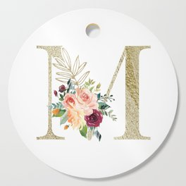 M Monogram Gold Foil Initial with Watercolor Flowers Cutting Board