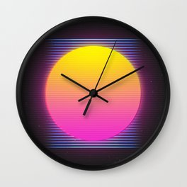 Retro 80's Neon Sunrise Wall Clock