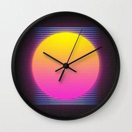Retro 80's Neon Sunrise Wall Clock