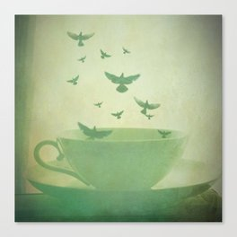 Morning Flight Coffee Tea Bird Flying Dream Surreal Home Kitchen Art Canvas Print