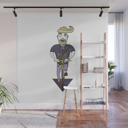 Bicycle rider man character on golden fixed gear bike Wall Mural