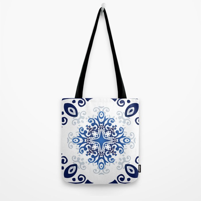 Blue Decorative Design Tote Bag