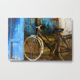 Blue Bicycle Metal Print