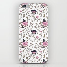Black cats and paeony flowers iPhone Skin