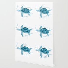 Funny Swimming Turtle Air Bubbles Gift Wallpaper