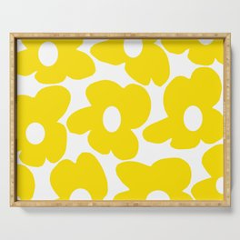 Large Yellow Retro Flowers on White Background #decor #society6 #buyart Serving Tray