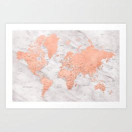 """Rose gold and marble world map with cities, """"Janine"""" Art Print"""