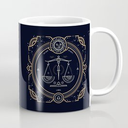 Libra Zodiac Golden White on Black Background Coffee Mug