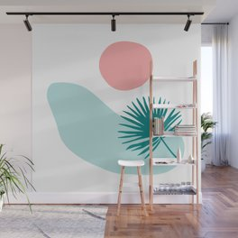 Tropical Beach, Minimalist Abstract Illustration Wall Mural