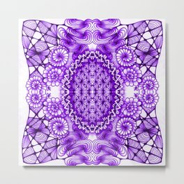 Purple Zentangle Tile Doodle Design Metal Print