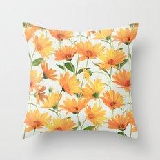 Painted Radiant Orange Daisies on off-white Throw Pillow