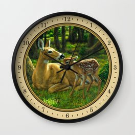 Whitetail Deer and Cute Spring Fawn Wall Clock