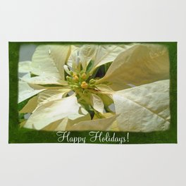 Pale Yellow Poinsettia 1 Happy Holidays P1F1 Rug