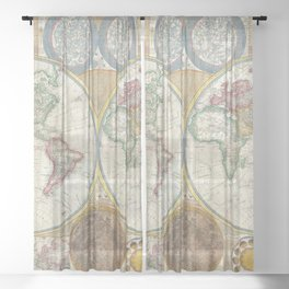 Vintage World Maps Sheer Curtain