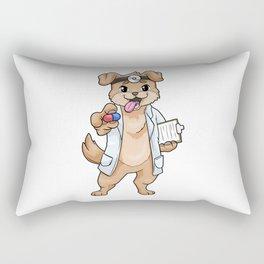 Dog as doctor with pills and notepad Rectangular Pillow