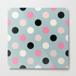 Geometric Orbital Spot Circles In Pink Black White & Green Metal Print