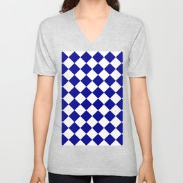 Large Diamonds - White and Dark Blue Unisex V-Neck